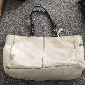 White leather diaper bag/commuting bag